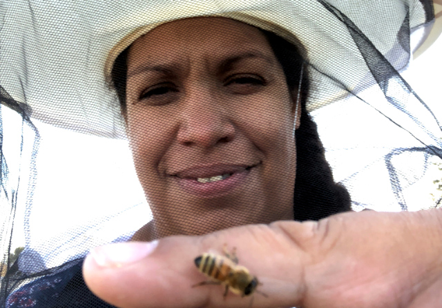 Fulbrighter and beekeeper Melanie Kirby holds up a honey bee that has lighted on her finger.