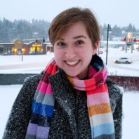 Closeup of Udall award winner Jacklyn Brendible on a snowy Pullman campus.