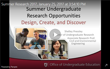Screenshot of summer research info session video