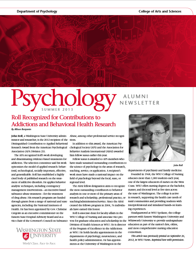 Psychology Newsletter 2013 cover