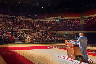 "Bryan Stevenson speaks about his book ""Just Mercy"" that is the Washington State University 2015 Common Reading book on Tuesday, Dec. 1, 2015, at Wallis Beasley Performing Arts Coliseum in Pullman."