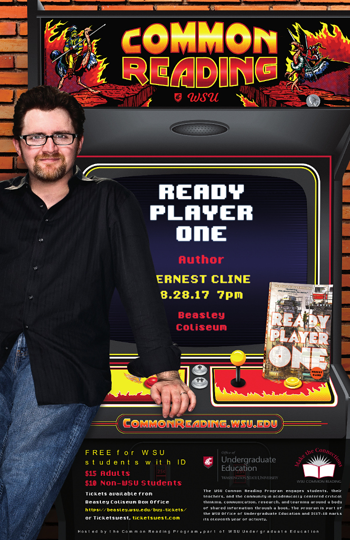 Ready Player One, Author Earnest Cline, 8.28.17 at 7 p.m., Beasley Coliseum
