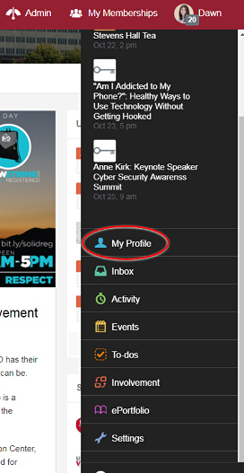Screenshot of CougSync's pop-up profile menu with My Profile circled