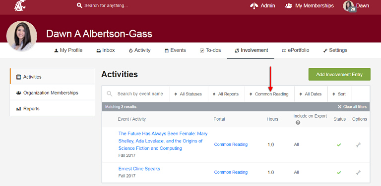 Screenshot of activities page on CougSync with arrow pointed at Common Reading in All Organizations field