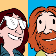 Soonish authors Kelly and Zach Weinersmith depicted in cartoon form.