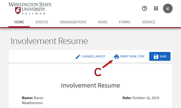 A screenshot of the CougSync website showing the Involvement Resume page.