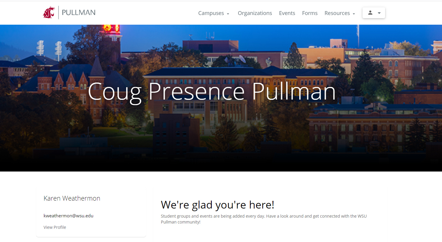 A screenshot of the student portal landing page on Presence.