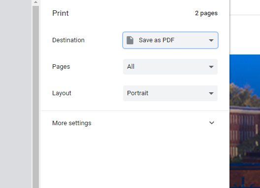 Screenshot of a web browser's print settings used to save one's attendance verification record as a PDF.