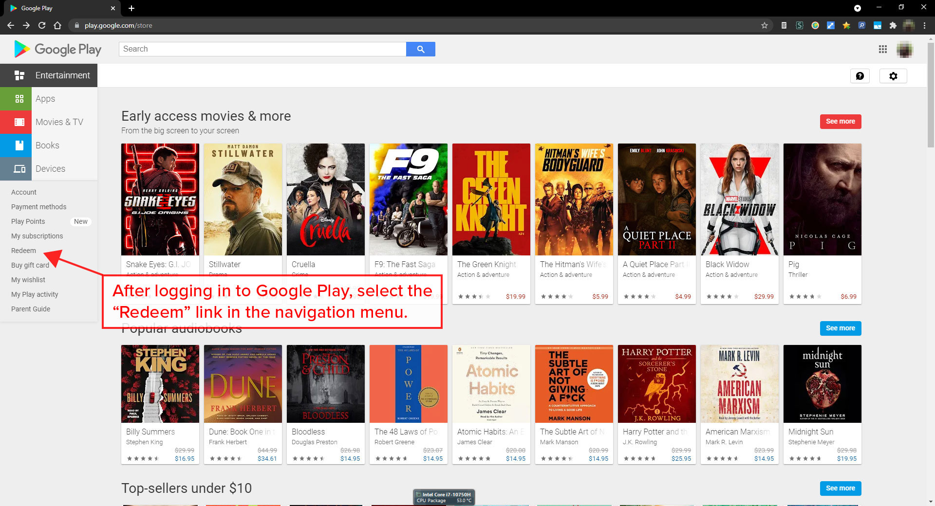After logging in to Google Play, select the 'Redeem' option in the navigation menu.