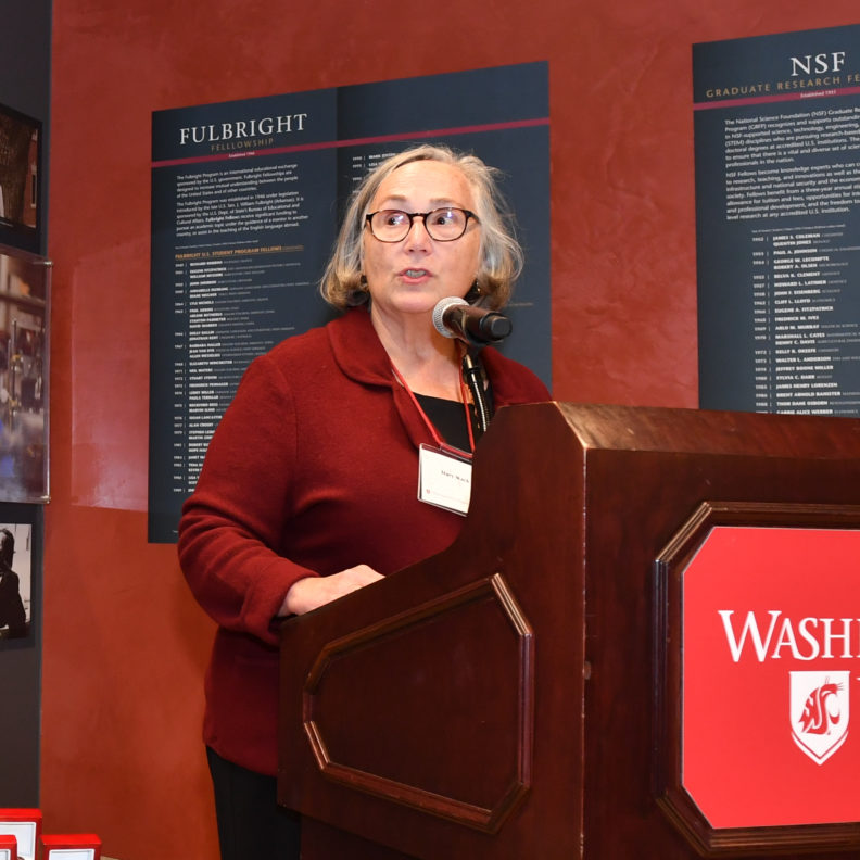 Vice Provost Mary Wack speaking at the Distinguished Scholars Celebration in fall semester 2019.