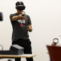 At this year's summer bridge program, Cougs Rise mentors tried out for the first time the VR environment in which they will be meeting with high schoolers.