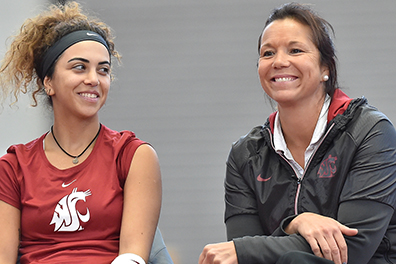 Lisa Hart sitting with a tennis player