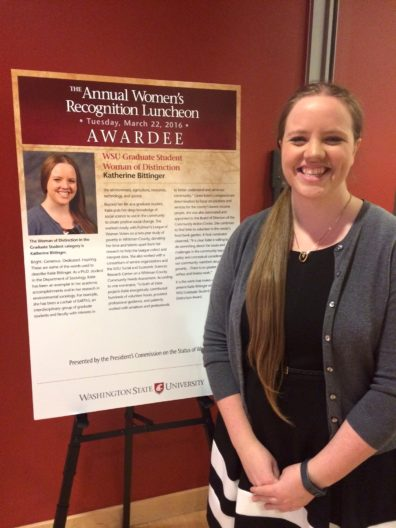 Katie Bittinger was recognized as a WSU Graduate Student Woman of Distinction.