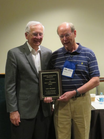 Don Dillman received an award from the Methodology Section of the American Sociological Association.
