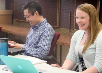 Graduate students Lindsey Beltz and Yikang Bai, survey design clinic consultants.
