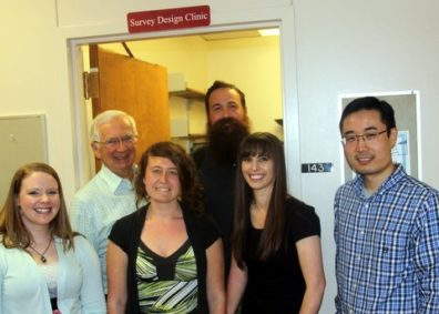 Survey design clinic members Dr. Don Dillman, James McCall, Lindsey Beltz, Sarah Morton, Mandy Clayson, and Yikang Bai.