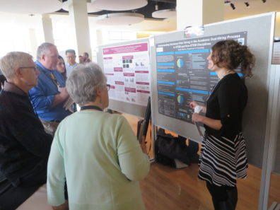 Graduate student Sarah Morton presents at the GPSA Research Exposition.