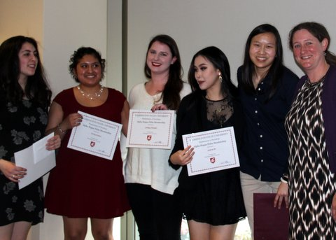 From left to right: undergraduate awardees Megan Wales, Norma Lozano, Lindsey Evensen, Jessica Do, Emily Lemke, and undergraduate advisor Dr. Sarah Whitley.