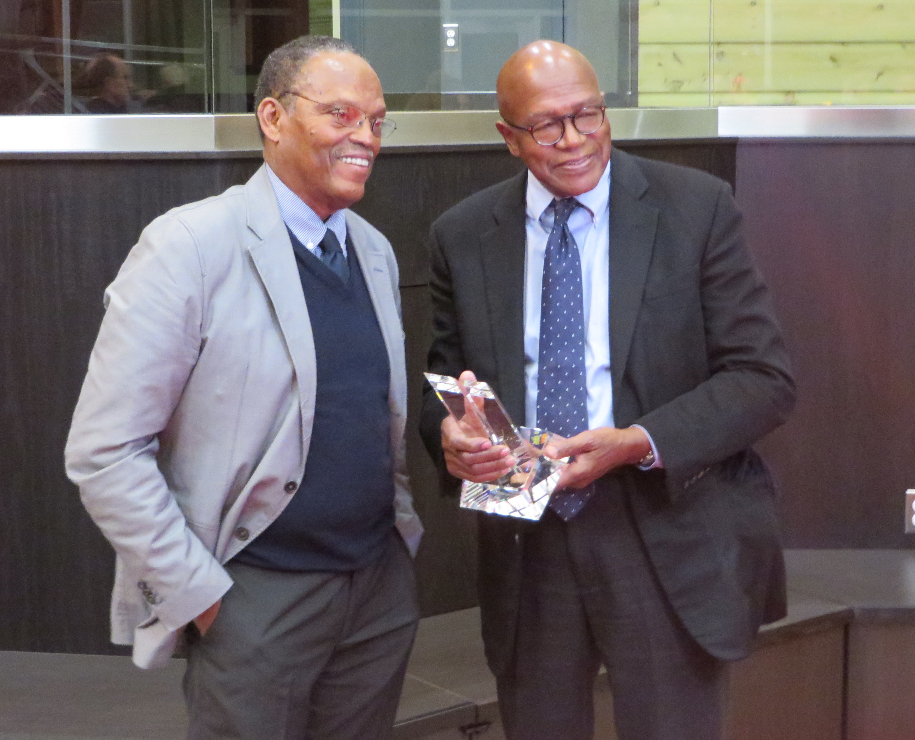 William Julius Wilson (left) visited WSU to introduce Yale professor Elijah Anderson—who received the William Julius Wilson Award for the Advancement of Social Justice.