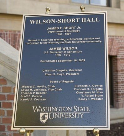 A photo of the Wilson-Short Hall re-dedication plaque.