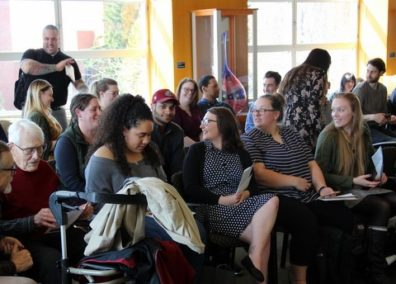 A photo depicting part of the enthusiastic crowd attending the student recognition event.