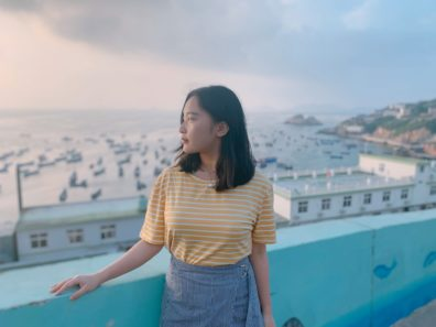 Photo of Sophia Yang looking into the distance.