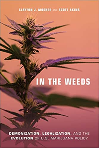 The cover of the book shows a close-up of a weed plant, and the background is orange to red ombre.