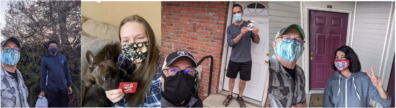Four selfies of recipients with their gift cards or food.