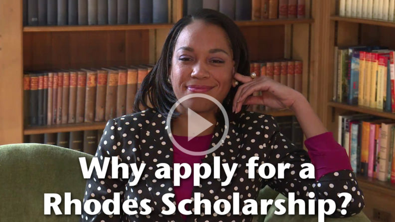"Still frame from video: ""Why apply for a Rhodes Scholarship?"""