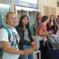 Students at the airport.