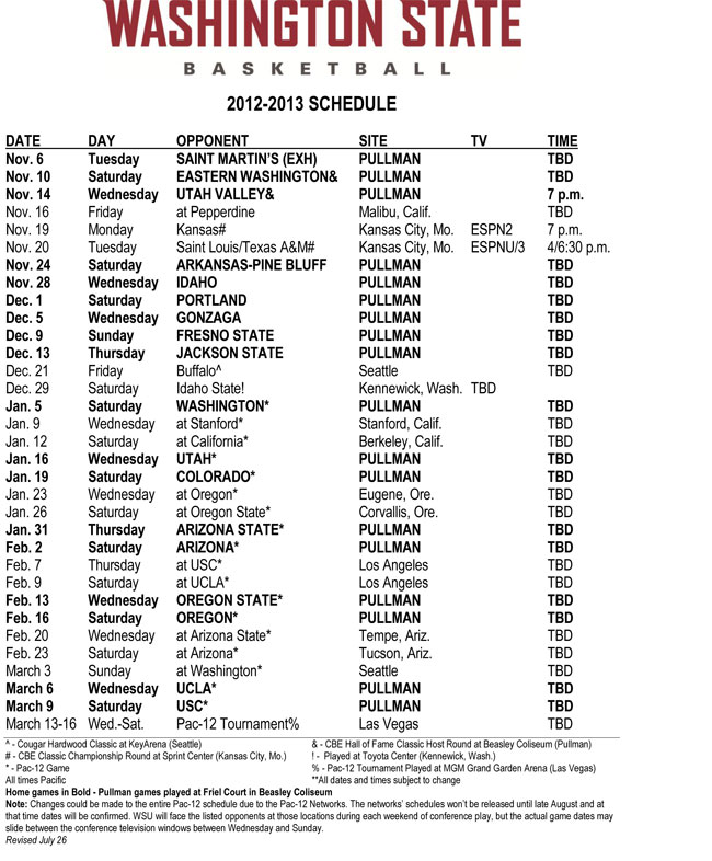 Cougars announce 2012 13 mens basketball schedule wsu insider cougars announce 2012 13 mens basketball schedule wsu insider washington state university saigontimesfo
