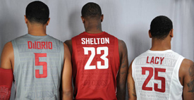 WSU men's basketball uniform from back