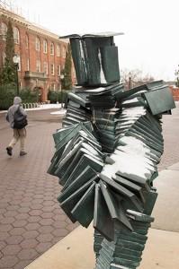 Snow-book-statue-