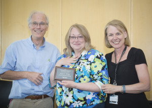 College of Pharmacy faculty nominators Dr. K. Michael Gibson (left) and Professor Brenda Bray (right) pictured with APAC regional campus winner Susan Wright (center).