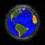 Computer-generated graphic shows objects in Earth's orbit that are being tracked by NASA. (Image courtesy of NASA orbital debris program)