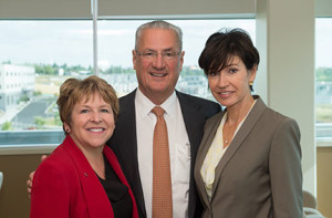 Left to right:  WSU Spokane Chancellor Lisa Brown, Dr. Ed Schweitzer and Beatriz Schweitzer.