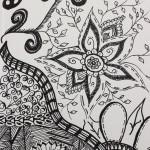 "Cindy Ellis draws ""Zentangles."" (Photos by Nella Letizia, WSU Libraries)"