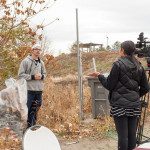 KVEW TV news reporter Kierra Elfalan interviews club officer Randy Bartoshevich during the cleanup.