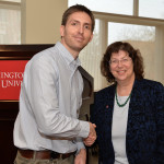 Winner Phillip Uribe with Erica Austin, interim co-provost. (Photo by Shelly Hanks, WSU Photo Services)