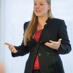 Molly Perchlik presents her thesis. (Photo by Robert Hubner, WSU Photo Services)