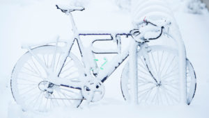 Frosty bike by Shelly Hanks, WSU Photo Services