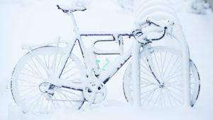 Frosty bike by Shelly Hanks, WSU Photo Services