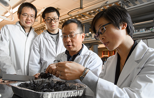 Jinwen Zhang with his carbon fiber recycling research team