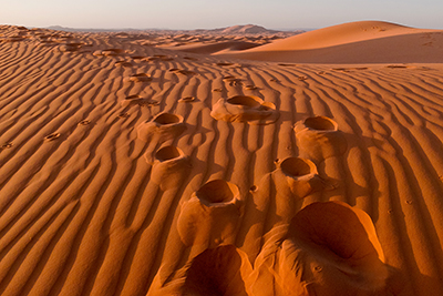 Foot Steps in the Sahara Desert, Morocco, near the border of Algeria