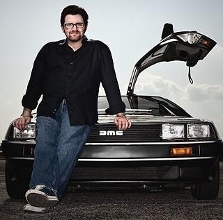 Ernest Cline and his DeLorean