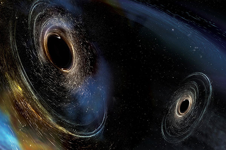 An artist rendering of two black holes merging, like the ones LIGO detected. Image courtesy of LIGO.