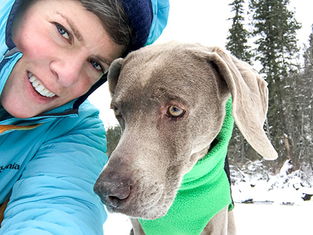 Montana photographer Lauren Grabelle and her 12 ½ year old Weimaraner, Sugar. Photo by Lauren Grabelle.