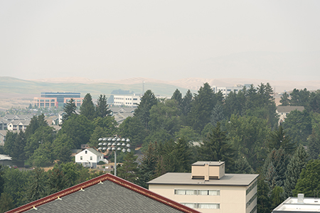 Smokey air on the Palouse obscures familiar landmarks