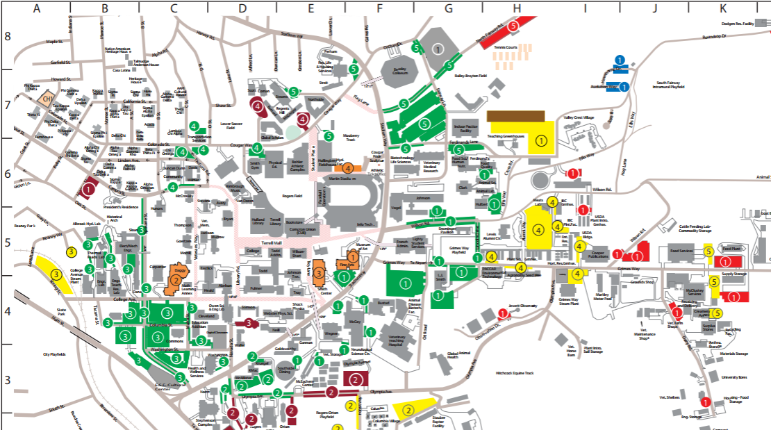 WSU Pullman Campus Parking Map