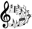 a flurry of musical notes